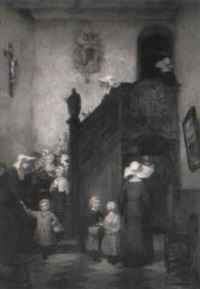 la sortie de l'école by charles auguste romain lobbedez