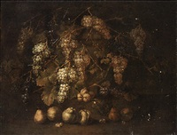 a grapevine by a stone plinth with pears and peaches on the ground by gilardo da lodi