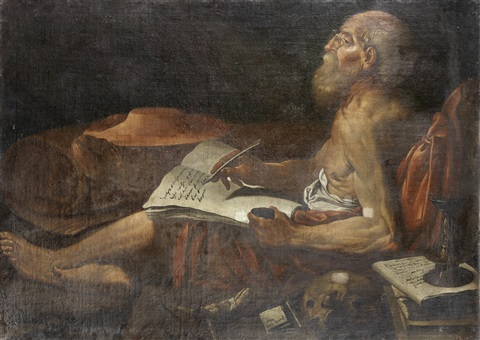 saint jerome studying by lionello spada