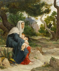 madonna and child seated in garden by jean francois ferdinand lematte