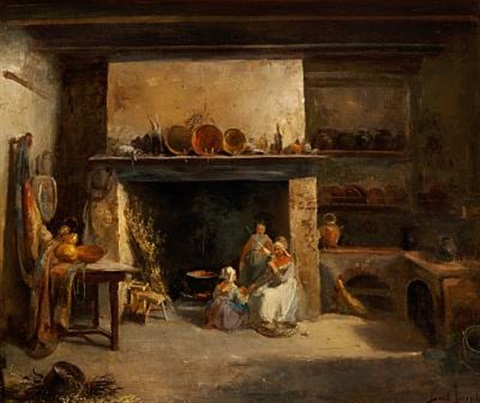 kitchen interior with two women and agirl at the fireplace by joseph bail