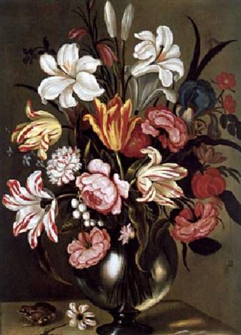 blumenstrauß von rosen, tulpen, lilien und anderen blüten by abraham bosschaert
