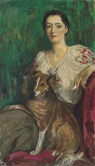 miss delphine reynolds and her sheltie by john lavery
