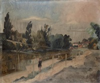 baigneuse en bord de rivière by leopold-levy