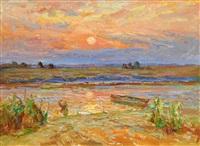 riverlandscape in the evening sun by anatoli fomine