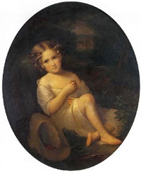 portrait de jeanne seillière à l'âge de cinq ans by louis aimé grosclaude