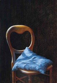 chair with a blue cushion by guy gladwell