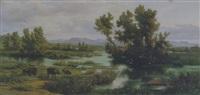 paesaggio della campagna romana con bufali by aurelio amici