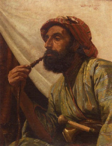 portrait of a man smoking a hookah by w savage cooper