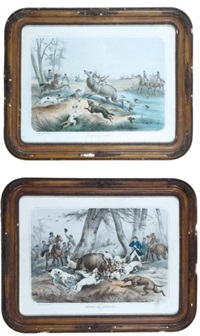chasse au sanglier (+ chasse au cerf; 2 works) by albert adam