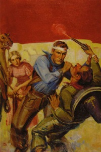 injured cowboy slugging bandito as gun goes off by john walter scott