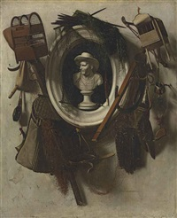 a trompe l'oeil of gaming equipment, with nets, falconry hoods, bird cages, a hunting horne and a glove, hanging on a wall, with a bust in a sculpted niche by christoffel pierson