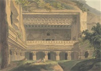 jagannâtha sabha; paraswa râma sabhâ; râmêswara; dotali; and viswakarmâ, exterior view (abbey travel, 420, pls. 105, 106, 112, 122, 123) (5 works) by thomas daniell