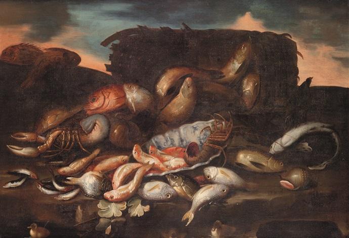 natura morta con pesci e crostacei by elena recco