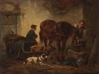 cheval à l'étable avec couple de paysans et attelage à chiens by wouter verschuur the elder