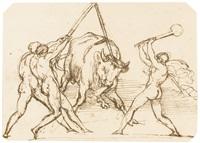 three men taunting a bull by théodore géricault