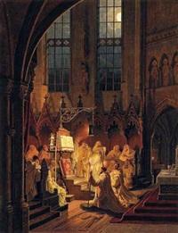 kartäuser bei den vigilien (auch nachtchor genannt, stundengebete die in der nacht bis in die frühen morgenstunden gebetet werden) in einer kathedrale by maximilian albert hauschild