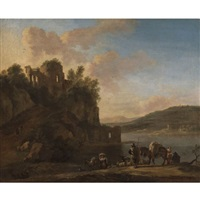 an italianate river landscape with herders on a path with their flock and donkeys, classical ruins on a hilltop beyond by jan asselijn