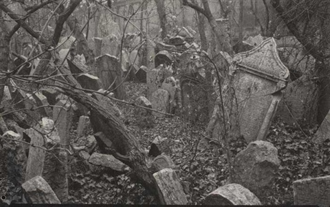 group of 7 photographs of the jewish cemetery prague by tibor honty