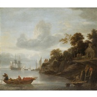 a river estuary with men casting their nets and a cottage and horses beyond by lieve pietersz verschuier