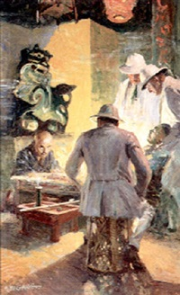 men in pith helmets confronting evil asian by george william gage