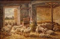 bergère et ses moutons dans l'étable by charles ferdinand ceramano