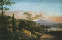 an italianate river landscape at sunset with figures on a track by hans de jode