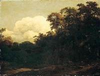 a wooded landscape by cornelis hendriksz vroom