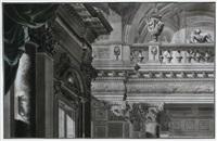 gesims- und emporenzone eines barocken interieurs eines schloß- oder palaisbaues mit personenstaffage (study) (+ blick durch barocke arkaden und kollonaden auf absolutistische parkanlage, smllr; 2 works) by andreas langwider