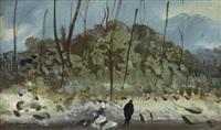figura nel paesaggio by pietro annigoni