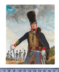 an officer, wearing blue coat with gold lace, crimson and gold corded sash, french grey trousers, fur lined blue cloak and plumed helmet, a sword in hand by michael bartlett