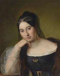 bildnis einer nachdenklichen dame im schwarzen kleid by natale schiavoni