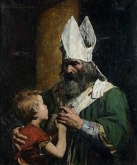 un évêque bénissant un enfant by jean paul laurens