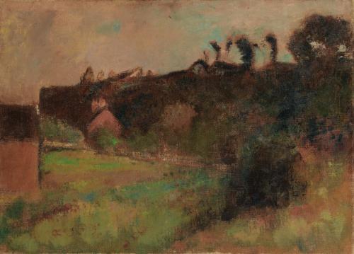 maisons au pied dune falaise by edgar degas
