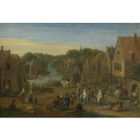 a village landscape with numerous figures at a vegetable market, a stream passing through beyond by mathys schoevaerdts