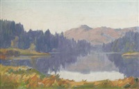 summer on the river (+ a lake landscape; 2 works) by augustus william enness