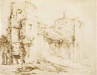 view of ruins, formerly identified as brederode castle by jan lievens