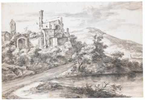 italianate river landscape with ruins on the left by jan asselijn
