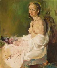 portrait of a nude women seated and holding flowers by william frederick foster