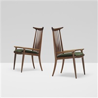 horn back chairs, pair by sam maloof