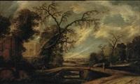 extensive landscape with figures by a bridge by jacob van geel