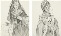i) spanish marie in pencil; ii) untitled (2 works) by rachel feinstein