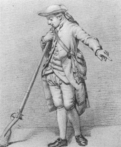 standing soldier holding a musket by jordanus hoorn