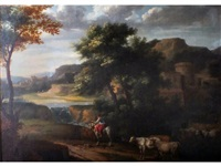 a horsewoman leading cattle in an italianate landscape by jan frans van bloemen
