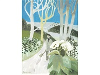 man on a path with pitchfork by mary fedden
