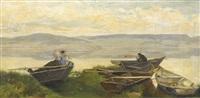 fischerboote am ufer des neuenburgersees by gustave jeanneret
