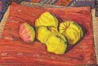 quinces on a red cloth by vasile varga