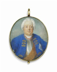 frederick william i (1688-1740), king of prussia, the soldier king, in blue coat over a silver breastplate by german school (18)