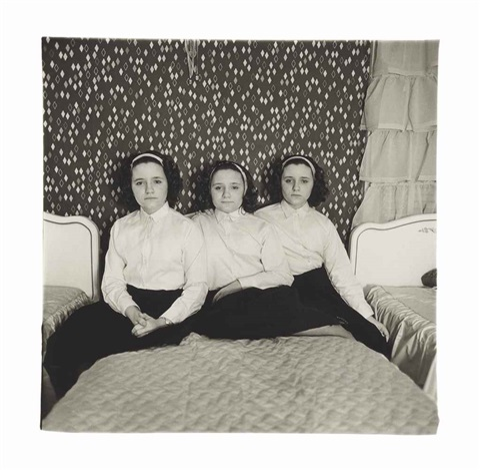 triplets in their bedroom nj by diane arbus