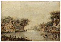 river landscape (+ another, similar; pair) by theodor (dirk) verryck